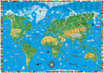 Carte du Monde Illustrée Pour Enfants