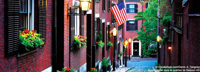 Promenade dans le quartier de Beacon Hill à Boston