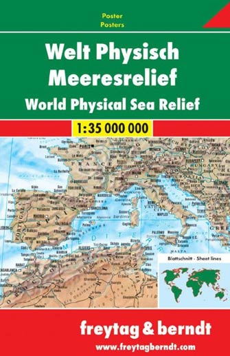 Poster Monde Physique & Relief Marin - World Physical & Seas