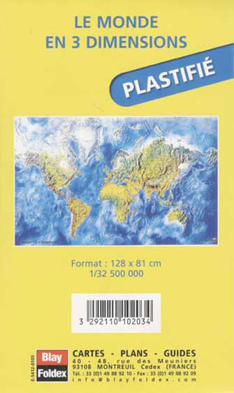 Carte Du Monde Plastifiee.Poster Le Monde En 3 Dimensions Plastifie Blay Foldex